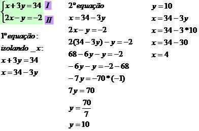 Sistema de Equações do Primeiro Grau com Duas Incógnitas ...