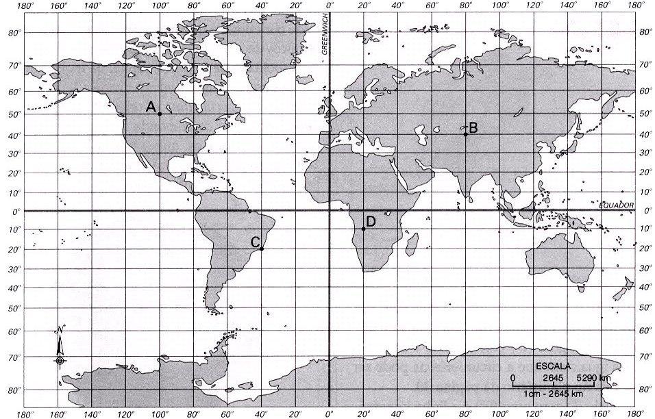 mapa com latitude e longitude ME AJUDEM !! É MUITO URGENTE!! 99 PONTOS!!! POR FAVOOOOR  mapa com latitude e longitude