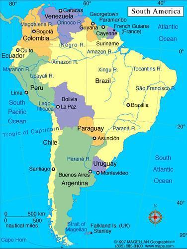 Mapa Da America Do Sul Com Paises E Capitais Me Ajudeeem Por