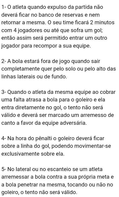 0e7a2175d1ae3 principais regras do futsal resumo  alguém sabe  - Brainly.com.br