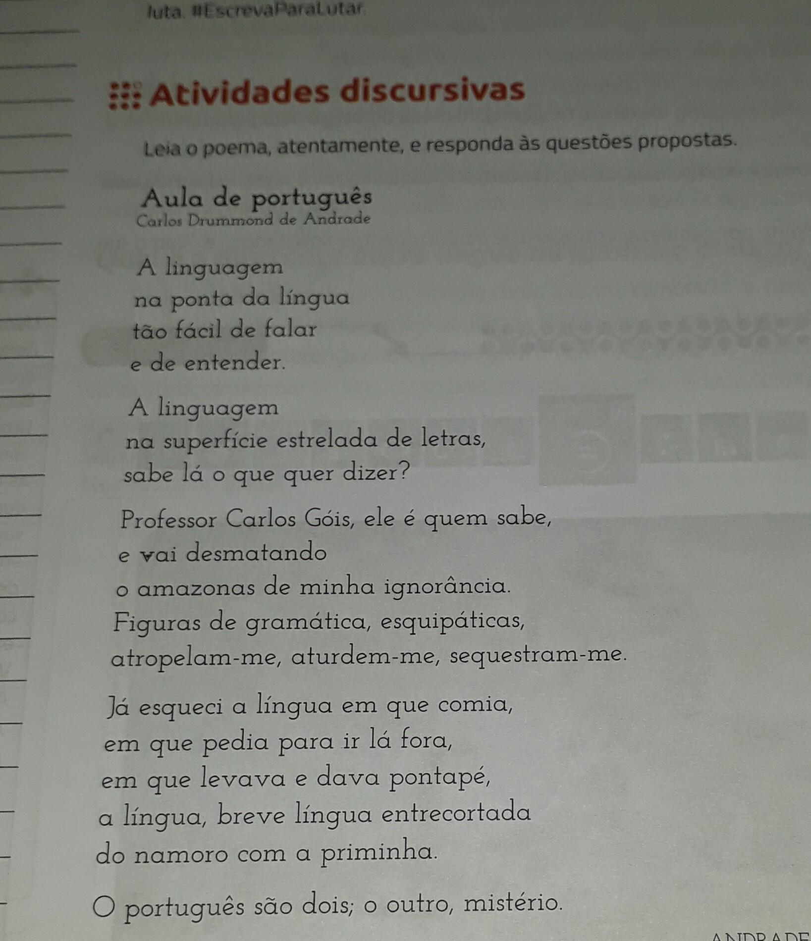 Inerente Cheap 1. o poema lido aponta um aspecto inerente a língua muito