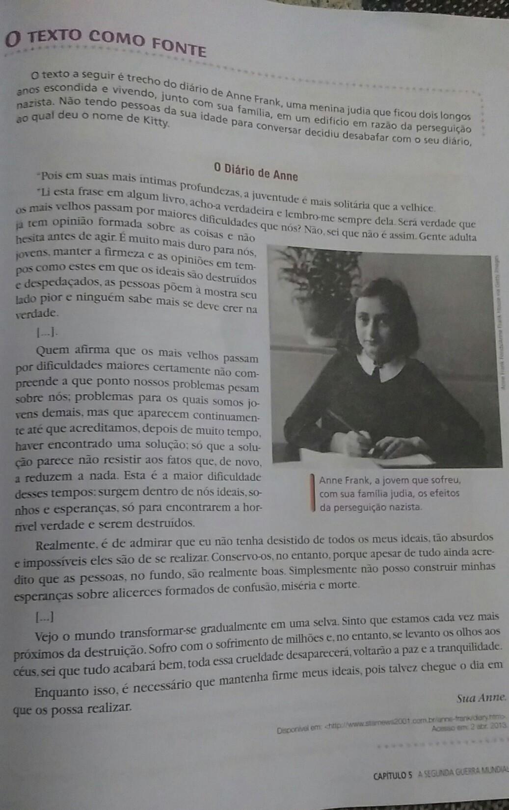 Que Argumento Anne Frank Usa Para Dizer Que Os Jovens Passam Por