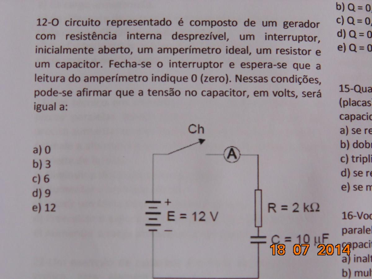 Circuito Eletricos : No circuito elétrico abaixo encontre a tensão no capacitor