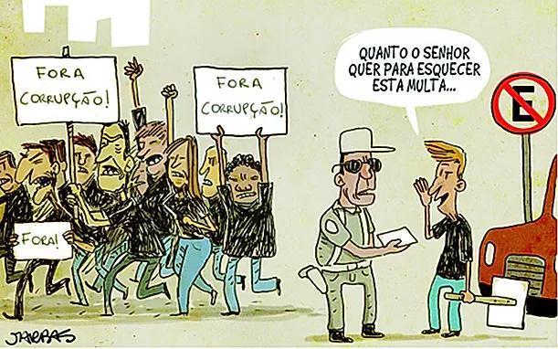 """A tirinha faz uma dura crítica ao chamado """"jeitinho brasileiro"""" e à noção  de justiça e moralidade - Brainly.com.br"""