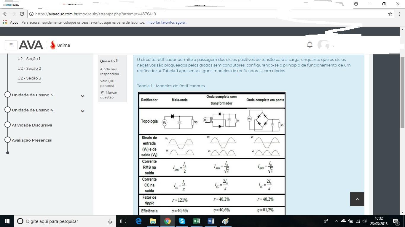 Circuito Retificador : U circuito retificador permite a passagem dos ciclos positivos de
