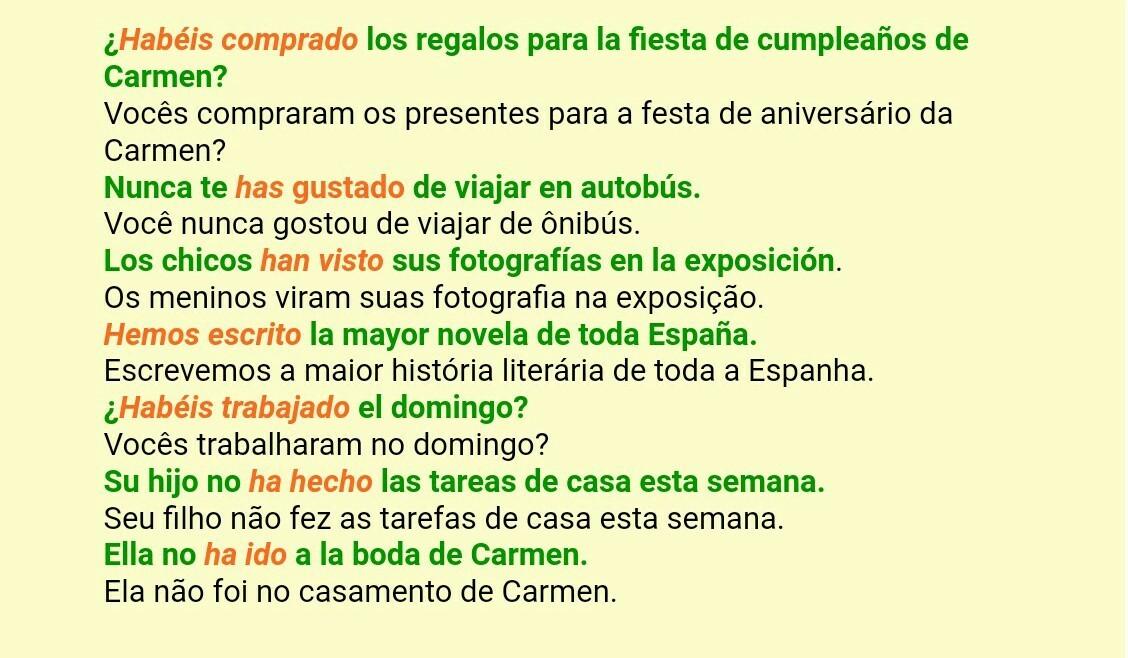 7 Frases Com Preterito Perfeito Composto Em Espanhol