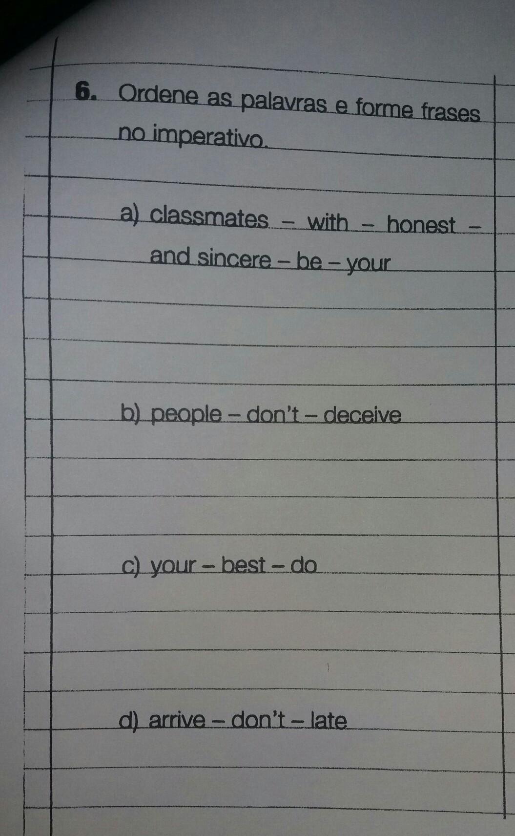 Ordene As Palavras E Forme Frases No Imperativo Brainlycombr