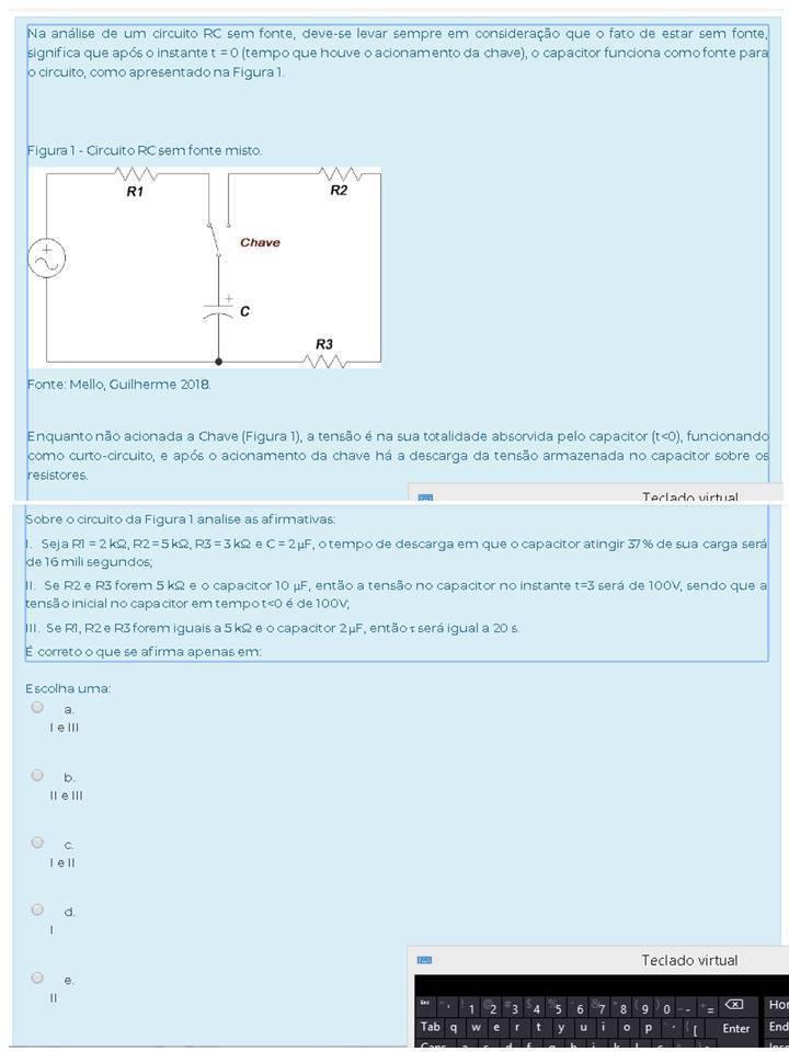 Circuito Rc : Na análise de um circuito rc sem fonte deve se levar sempre em