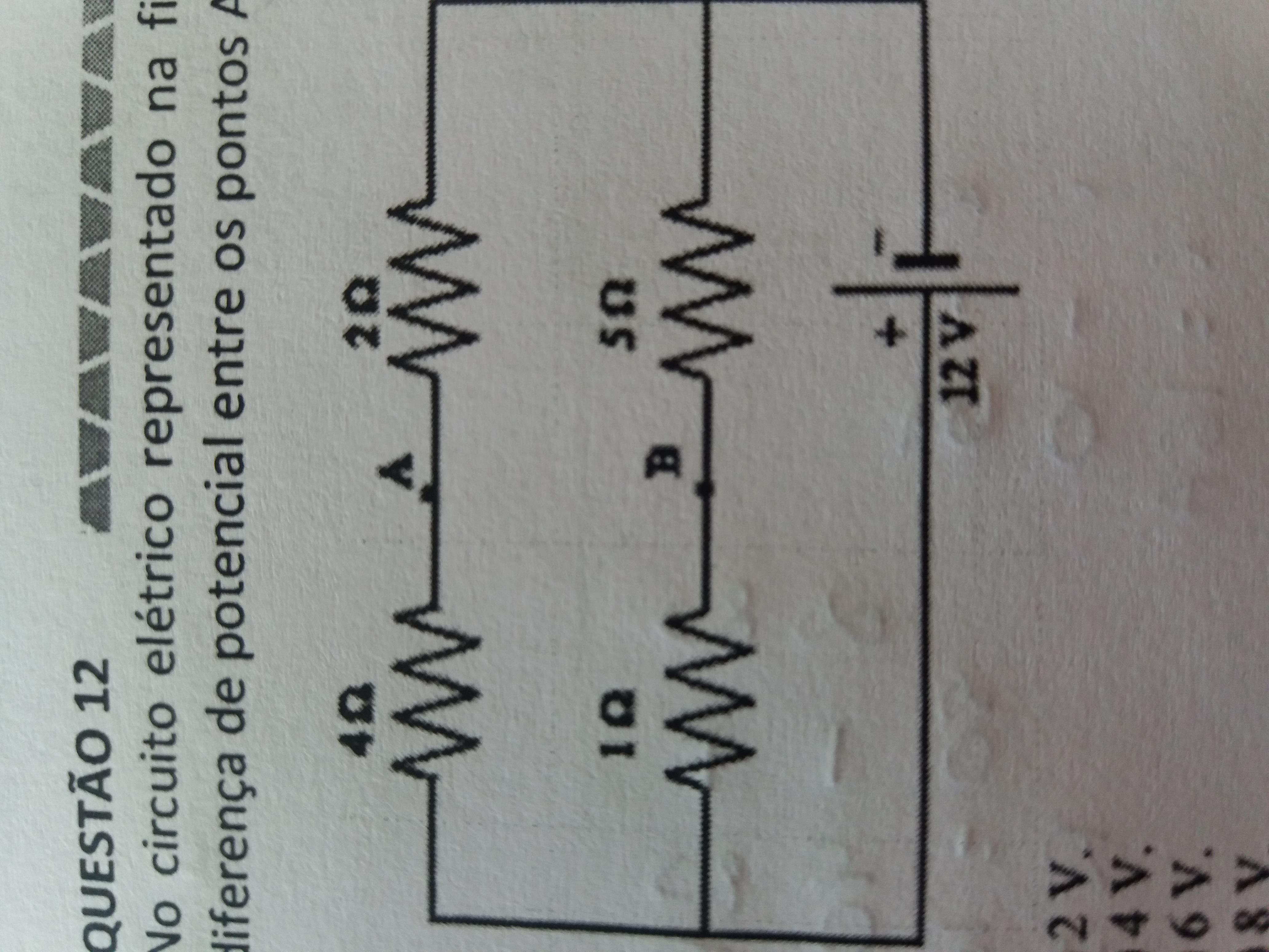 Circuito Eletrico : No circuito elétrico representado na figura o módulo da diferença