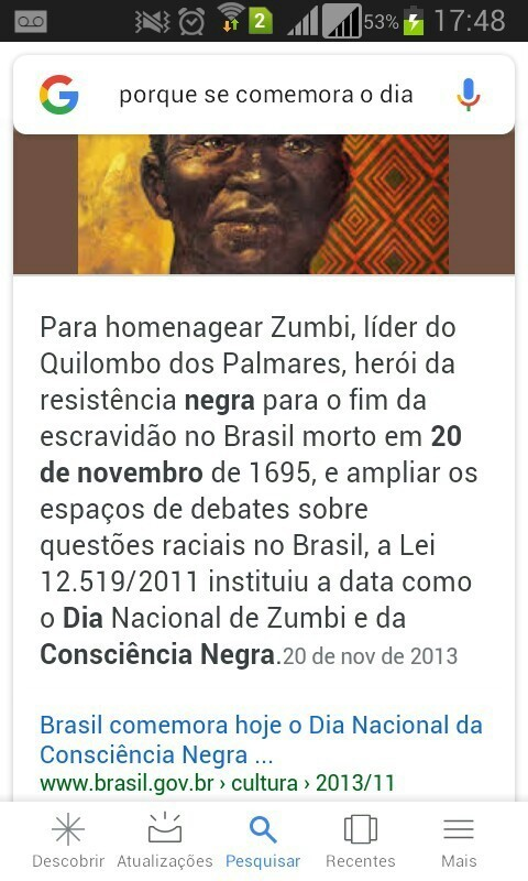 Pro que se comemora o Dia da Consciência Negra no dia 20 de novembro? -  Brainly.com.br