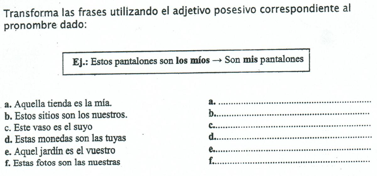Espanhol Diálogo Transforma Las Frases Utilizando El