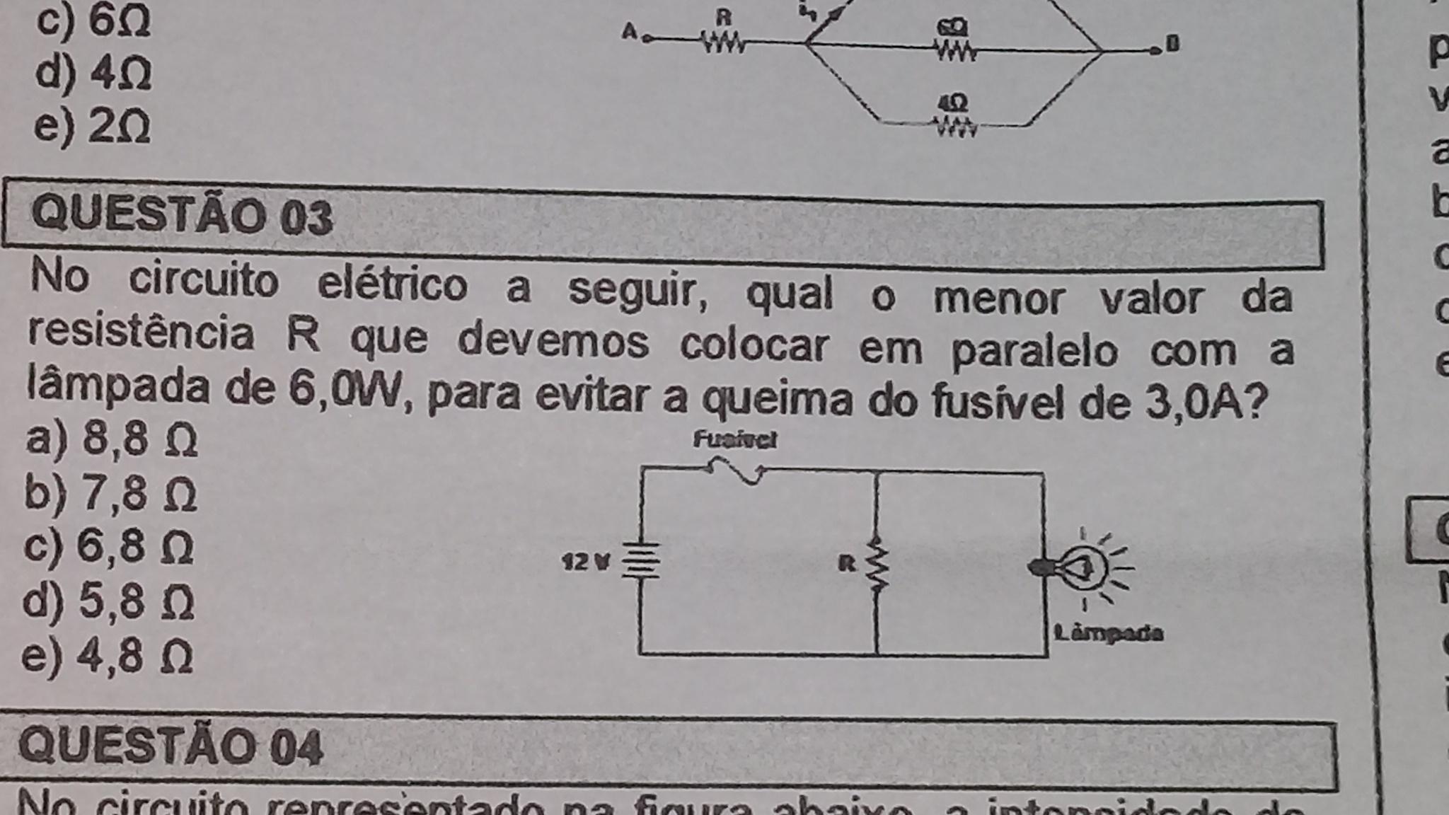 Circuito Eletrico : Na circuito elétrico a seguir qual o menor valor da resistência r