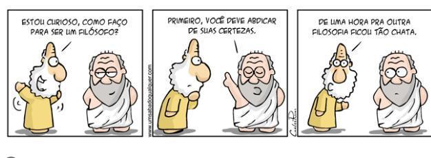 A partir da análise da charge, pode-se afirmar que o pensamento filosófico  tem como principal - Brainly.com.br