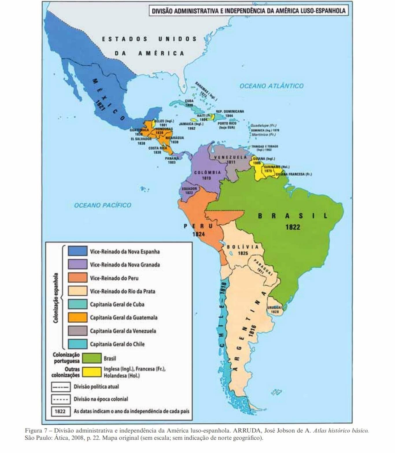 Diferencie No Mapa Os Paises Colonizadas Pela Espanha E Por