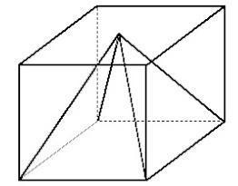 Uma piramide esta inscrita num cubo, como mostra a figura anterior ...