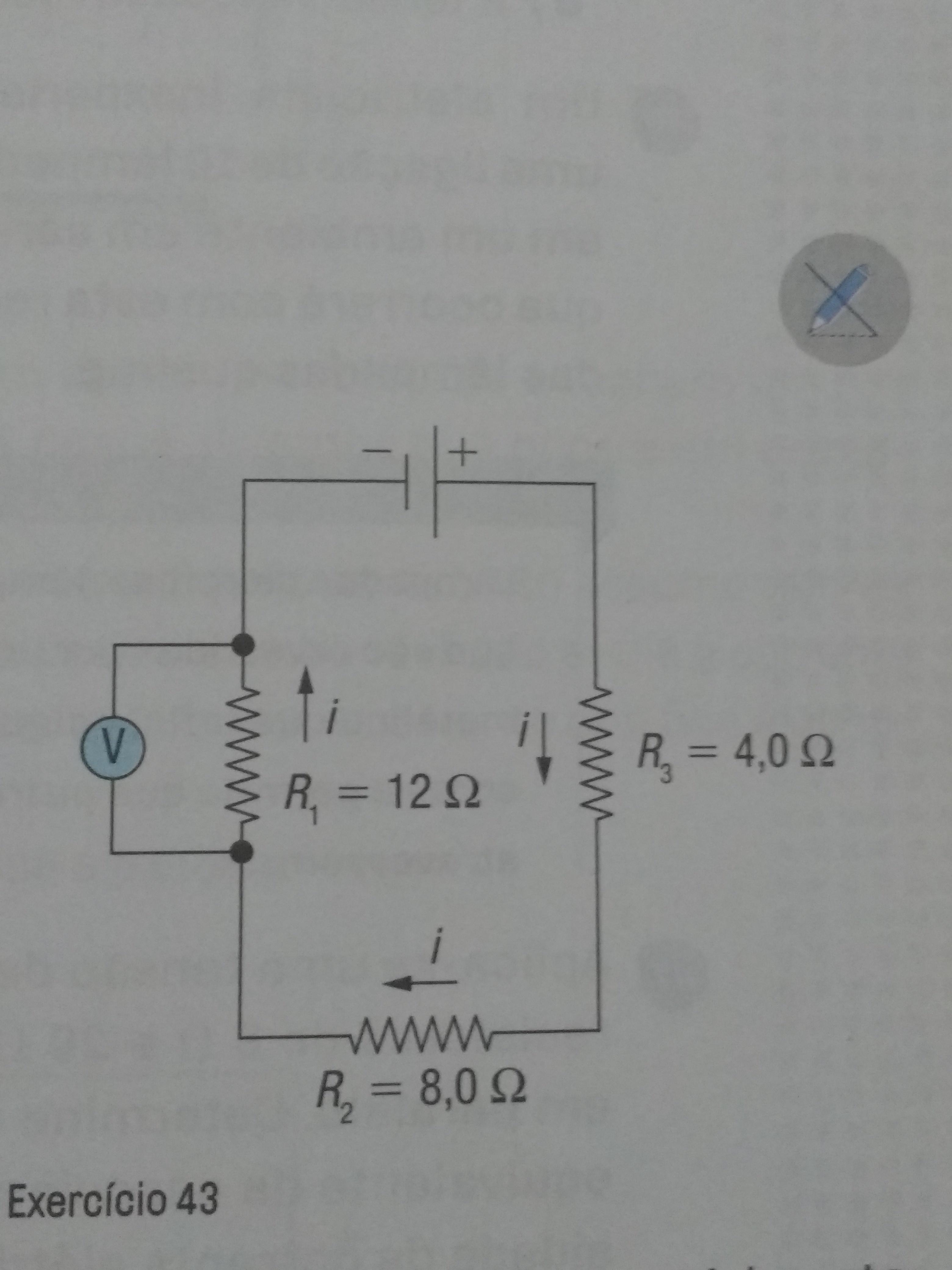 Circuito Em Série : No circuito elétrico em série da figura a seguir o voltímetro