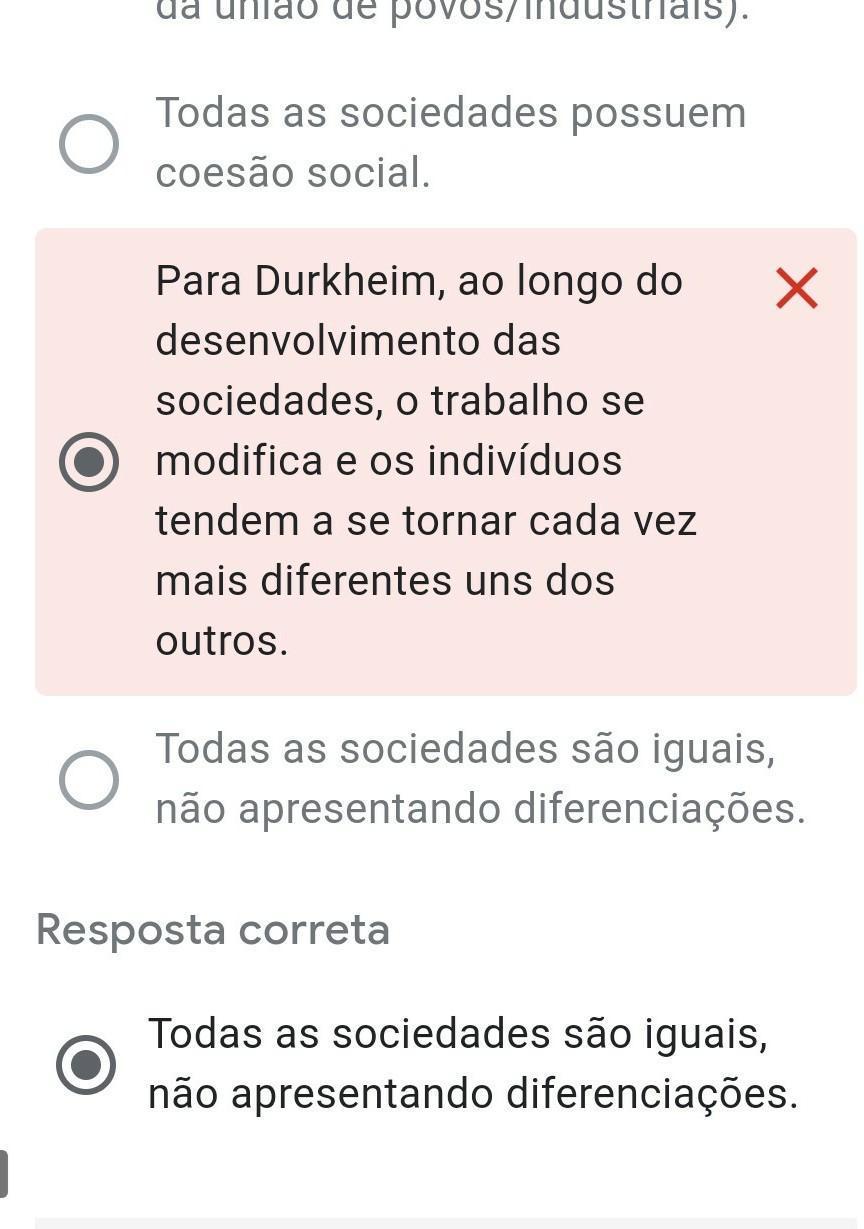 1. Segundo as teorias de Émile Durkheim, marque a alternativa INCORRETA: *  1 ponto a)Durkheim - Brainly.com.br