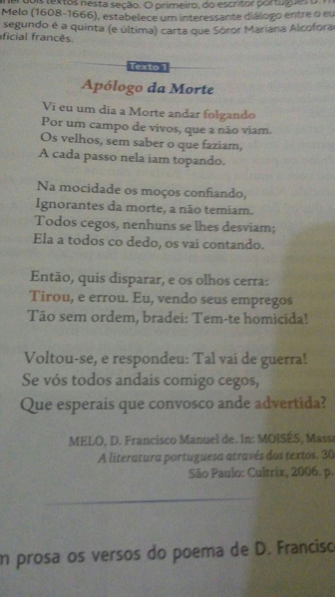 1 Transforme Em Prosa Os Versos Do Poema De Dfrancisco Manuel De