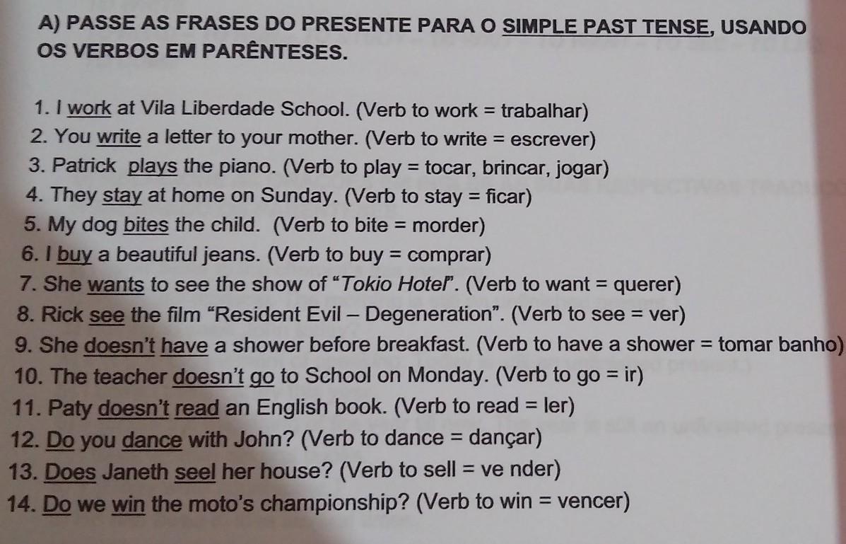 Passe As Frases Do Presente Para O Simples Past Tense
