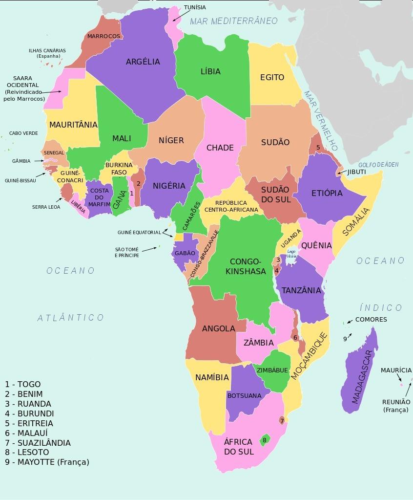 mapa africa nomes paises mapa da áfrica nome dos países? heeelllpppp :)   Brainly.com.br mapa africa nomes paises