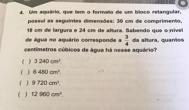 30bc3d125 Quantos centímetros cúbicos de água há nesse aquário? Responda o ...