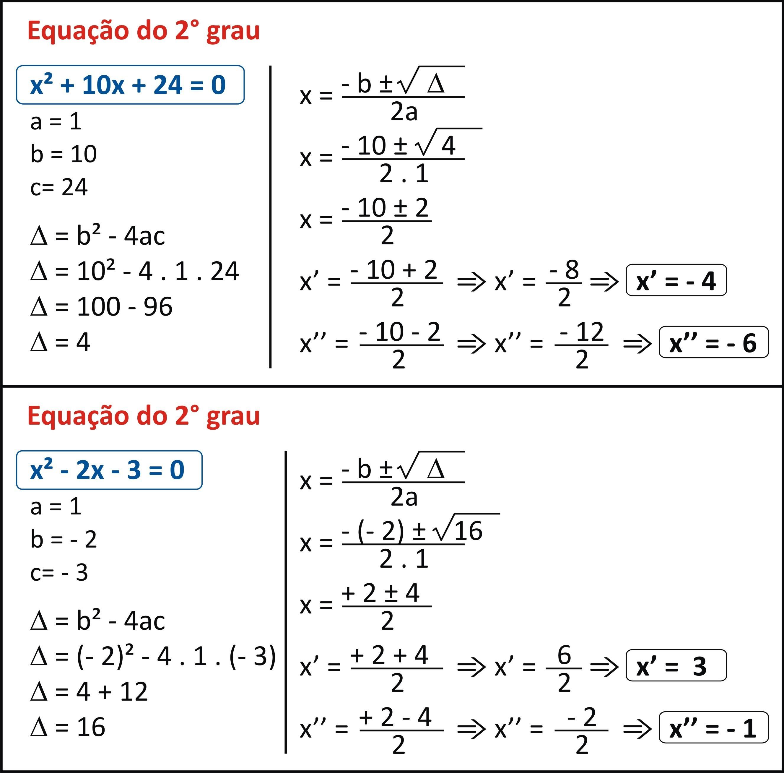 Equação de 2 grau/bhaskara - Brainly.com.br