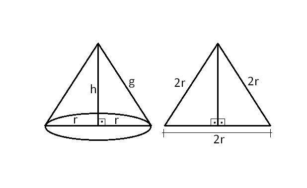 determine volume de um cone equilátero cuja geratriz mede 8 cm? me ...