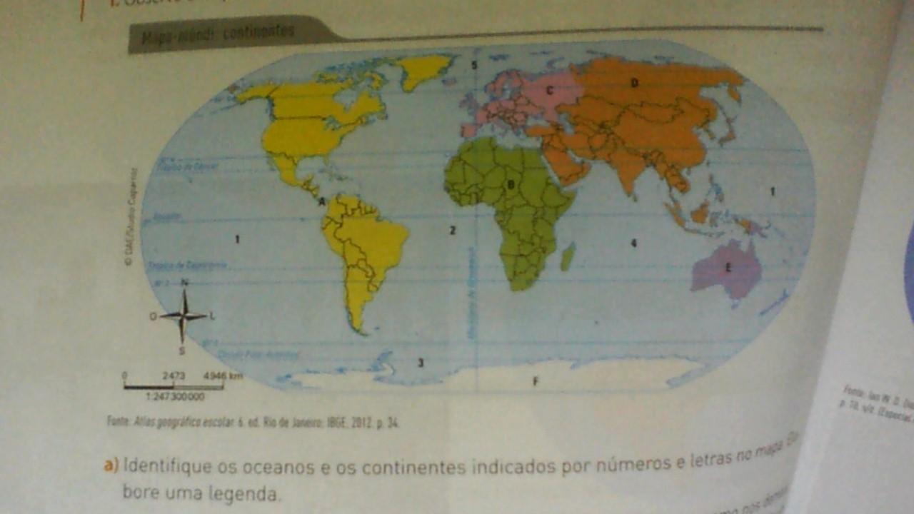 Mapa Mundi Continentes Identifique Os Oceanos E Os Continentes