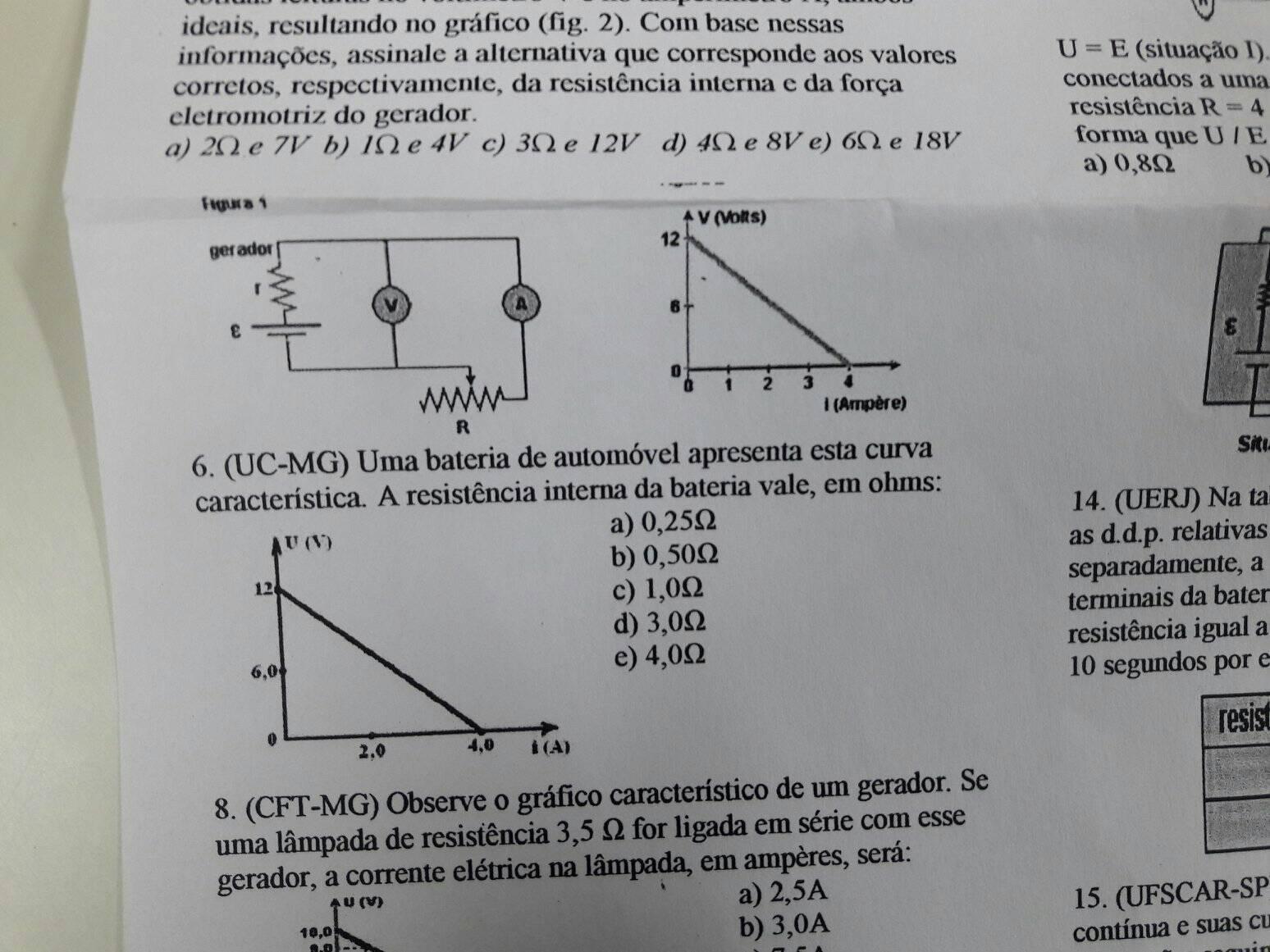 Circuito Eletrico : O circuito elétrico fig é utilizado para a determinação da