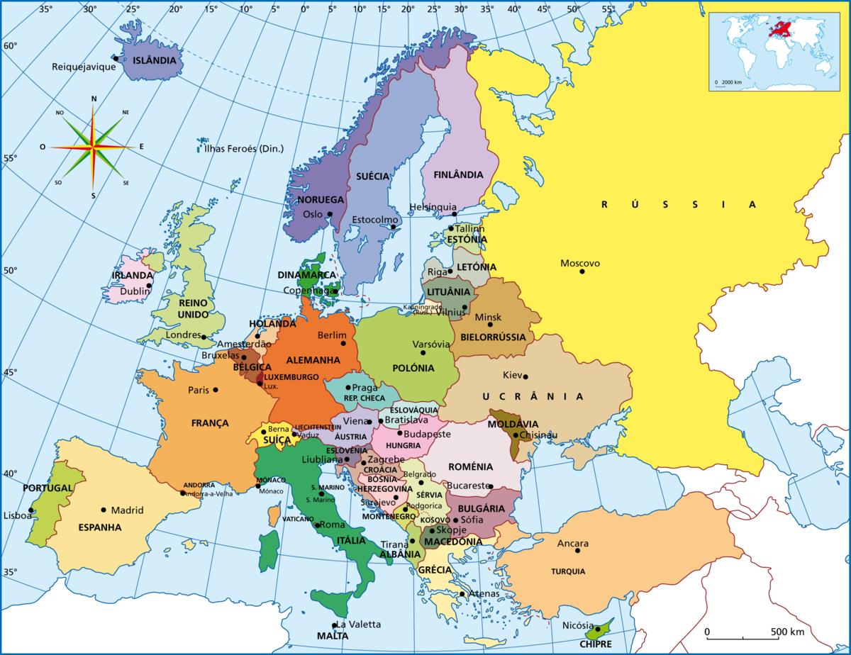 mapa da europa atual Divisão Politica da Europa Atual. Responda:Imagine que você está  mapa da europa atual