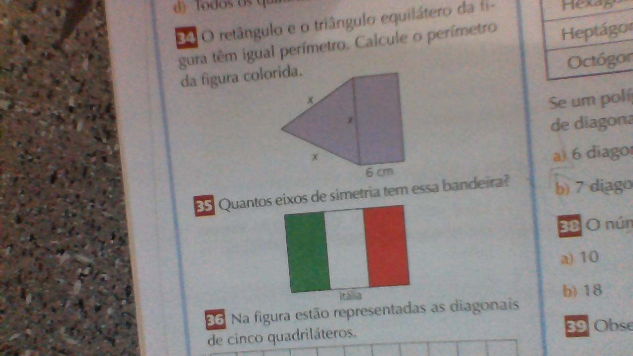 O retângulo e o triangulo equilátero da figura tem igual perímetro .  calcule o perímetro da figura . . quantos eixos de simetrias tem essa  bandeira da ... 2e670ad0f3121