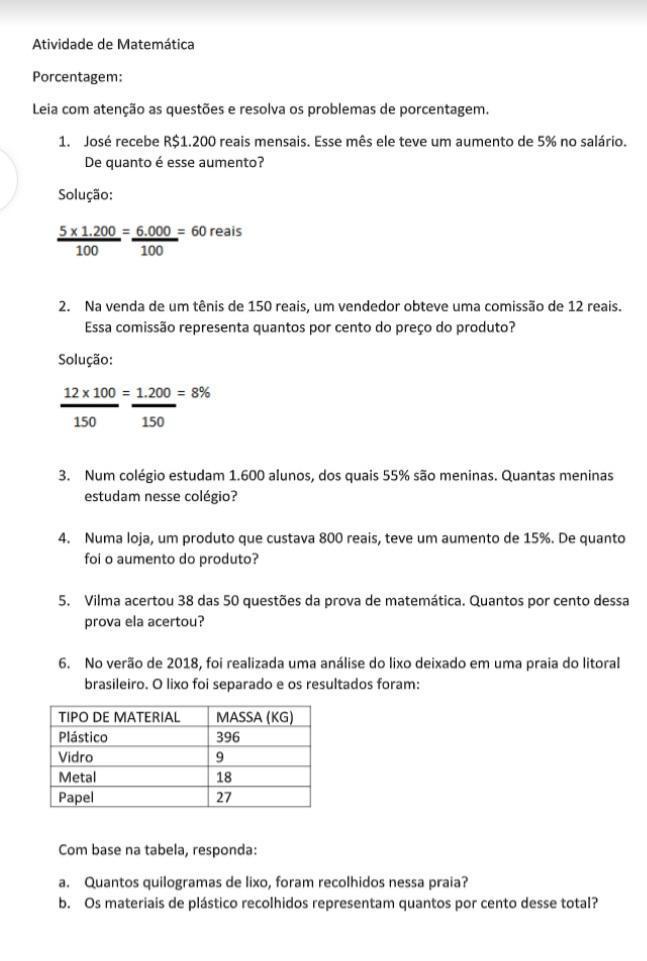 Atividade De Matematica Porcentagem Lela Com Atencao As Questoes E Resolva Os Problemas De Brainly Com Br