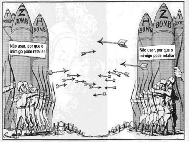 A afirmação do autor, de que a paz da guerra fria foi baseada na ameaça  nuclear, relaciona-se a - Brainly.com.br