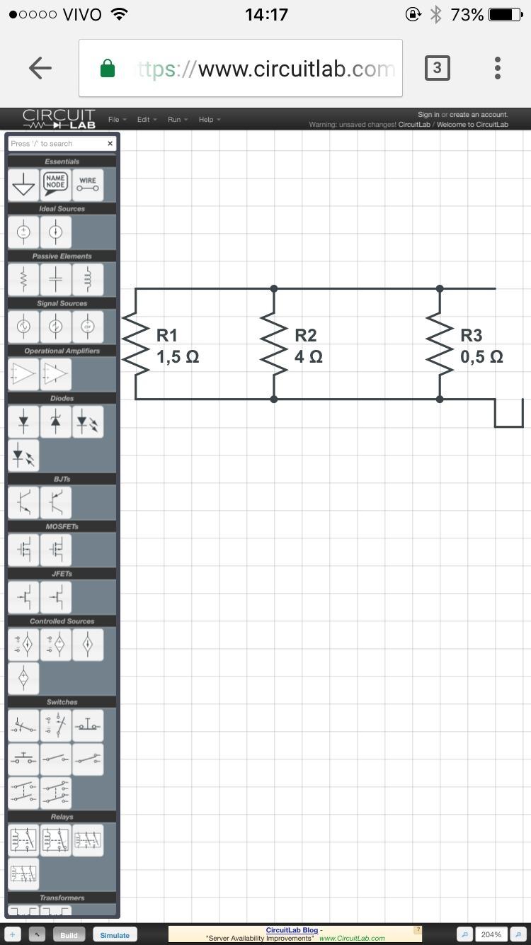 Circuito Paralelo : Um circuito é constituído de três resístores em paralelo cujos