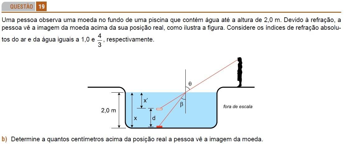 5e22da24f Uma pessoa observa uma moeda no fundo de uma piscina que contém água ...