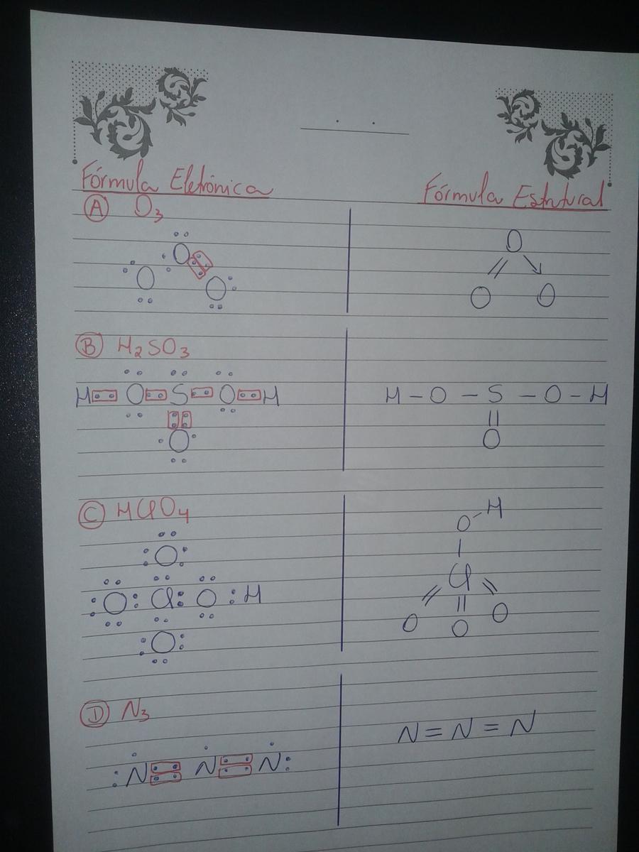 formulas estruturais e eletrônicas para os compostos: a)O3 ...
